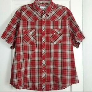 Wrangler Wrancher 2X Pearl Snap Shirt Plaid Red